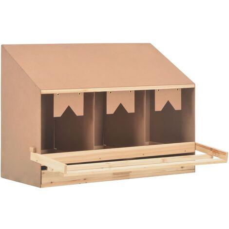Ponedero para gallinas 3 compartimentos madera pino 93x40x65 cm