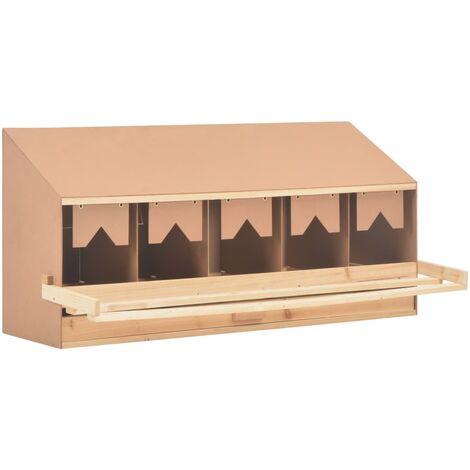 Ponedero para gallinas 5 compartimentos madera pino 117x33x54cm