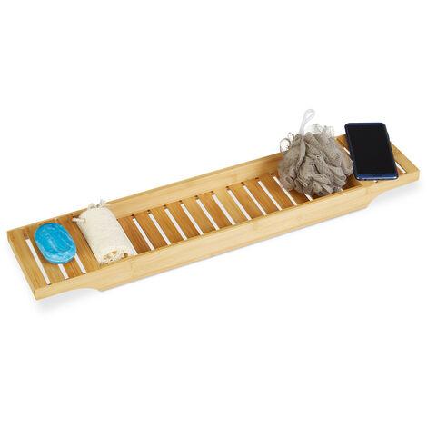 Pont de baignoire bambou HxlxP: 4,5 x 68,5 x 14,5 cm plateau de bain tablette salle de bain, nature