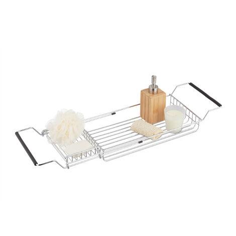 Pont de baignoire Plateau accessoire salle de bain rétractable 2 compartiments H x l x P H x B x T: 8,5 x 70 x 20 cm chromé, métallique, argenté