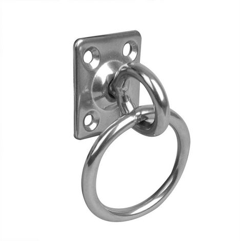 Pontet sur platine à anneau et émerillon, 33x38x6mm, RVS AISI 316, 4 trous