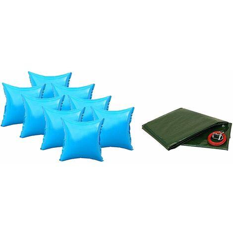 Pool Abdeckplanen Set mit 8 Luftkissen 450-460cm