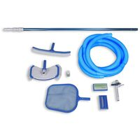 Pool Cleanign Set with Leaf Skimmer Side and Wall Brush Thermometers 8m Long Hose
