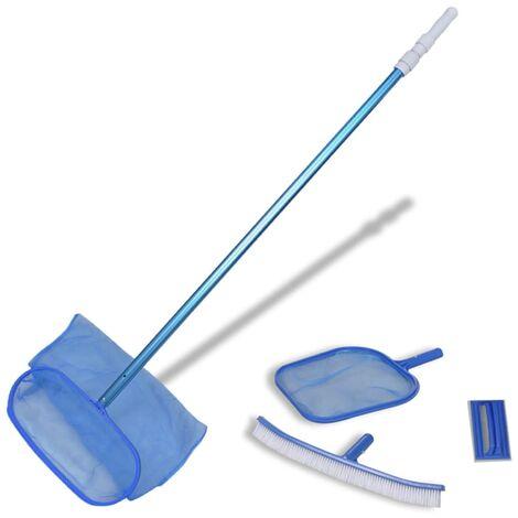 Pool Cleaning Set Brush 2 Leaf Skimmers 1 Telescopic Pole - Blue