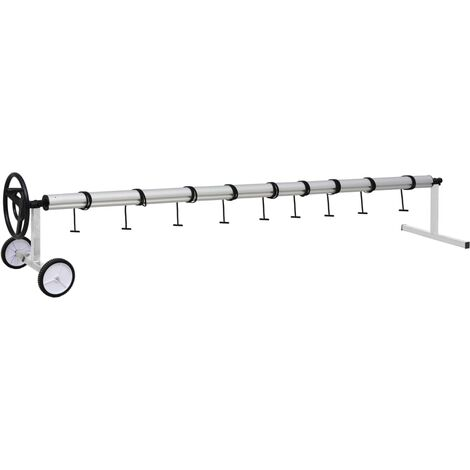 Pool Cover Roller with Stainless Steel Base - Silver