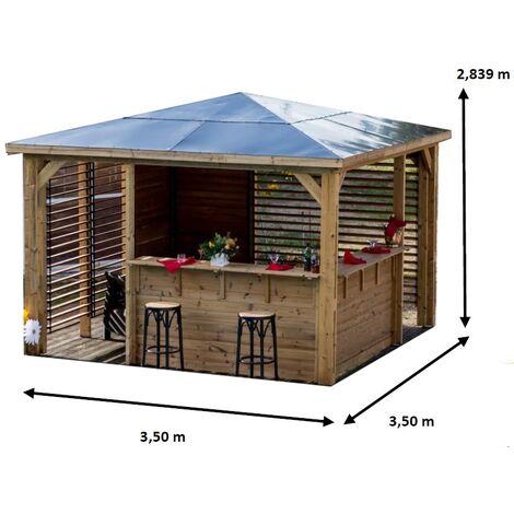 Pool House Blueterm - 2 parois avec ventelles mobiles orientables et 2 comptoirs