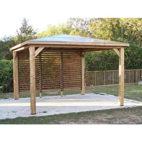 Pool house BLUETERM fabriqué en bois massif traité très haute température 14,36 m2
