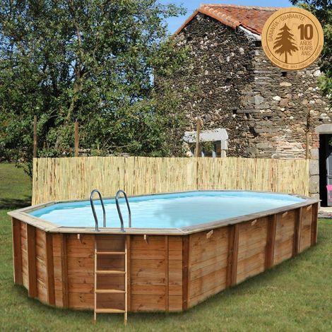 Pool Komplettset aus Echtholz Sevilla Oval 852 x 455 x 146 cm 70102588