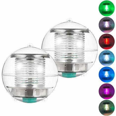 Pool Licht Solar LED Lampe Wasserdichtes Unterwasser Schwimmbad Licht RGB Ball Licht für Garten, Bäume, Teich Pool (2er Pack)