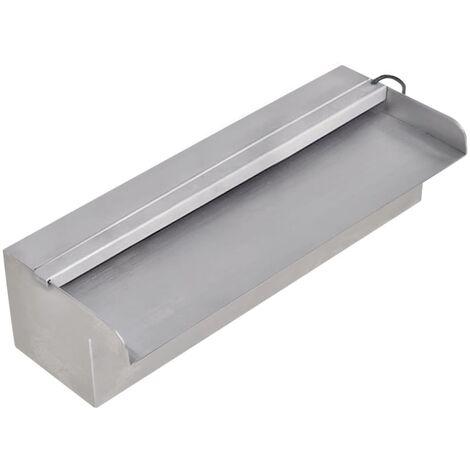 Pool-Wasserfall Fontäne mit LEDs Rechteckig Edelstahl 30 cm