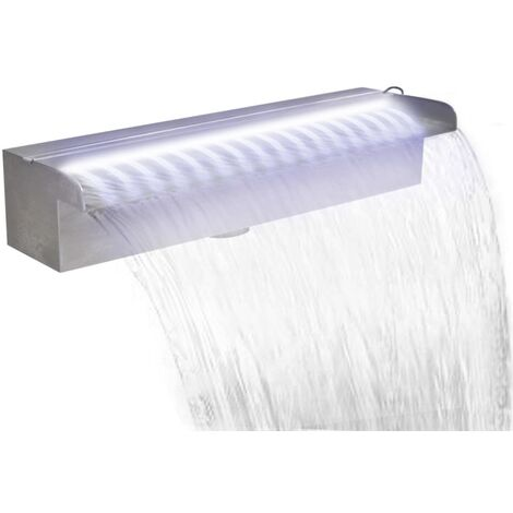 Pool-Wasserfall Fontäne mit LEDs Rechteckig Edelstahl 45 cm