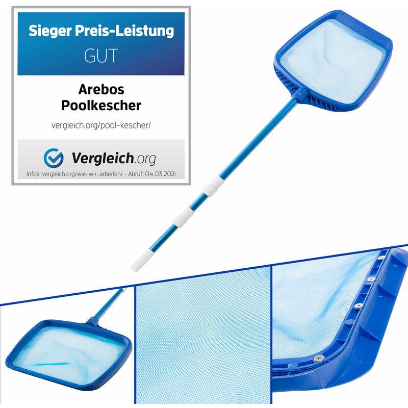 Laubkescher Deluxe mit Nylonnetz und Aufnahmelippe Poolkescher Poolreinigung