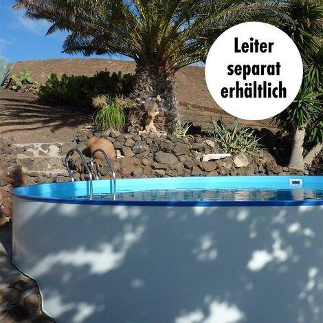 Poolset, Größe & Tiefe wählbar, 0,6mm Stahlwand, 0,6mm Poolfolie mit Einhängebiese, Sandfilteranlage SF mit 6-Wege-Ventil, Filtersand, Skimmer- und Schlauch-Set