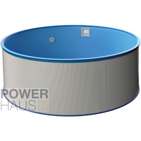 Poolset, Größe & Tiefe wählbar, Aufstellbecken mit 0,3mm Stahlwand, blaue Poolfolie, stabile Sicherheitsleiter und Kartuschenfilter 1,7m³/h