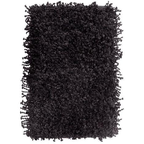 POP CORN - <p>Tapis effet popcorn extra-doux noir 85x55</p> - Noir