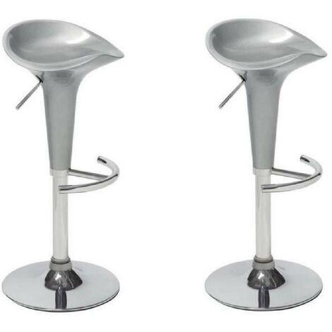 POP Lot de 2 tabourets de bar gris - Contemporain - L 44 x P 47 cm Generique
