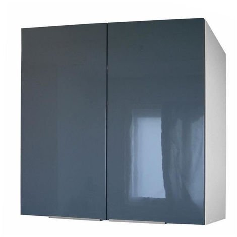 POP - Berlenus CP8HG - Meuble haut de cuisine avec 2 Portes - L 80 cm -  Gris brillant ( Haute Brillance )