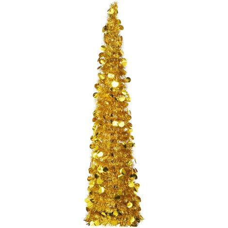 Pop-up Artificial Christmas Tree Gold 150 cm PET