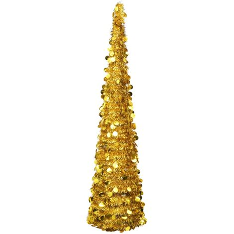 Pop-up Artificial Christmas Tree Gold 180 cm PET
