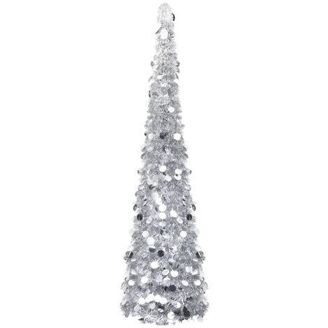 Pop-up Artificial Christmas Tree Silver 150 cm PET
