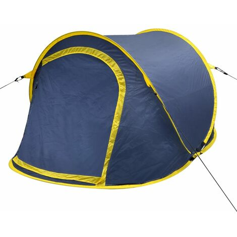 Pop-up Camping Tent 2 Persons Navy Blue / Yellow VDTD32108