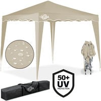 "Pop-Up Gazebo 10x10ft Awning Canopy Garden Tent ""Capri"" Cream"