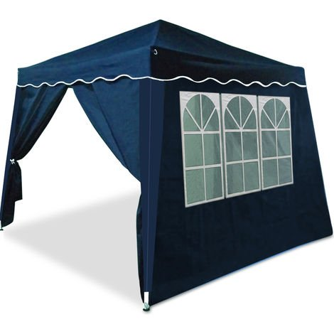 Pop Up Gazebo 3m x 3m with Sides And Carry Bag Waterproof Folding Garden Marquee Tent Awning Canopy Side Panels Blue