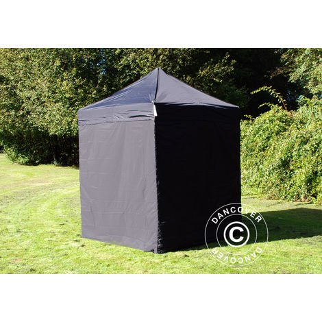 Pop up gazebo FleXtents Pop up canopy Folding tent Basic v.2, 2x2 m Black, incl. 4 sidewalls