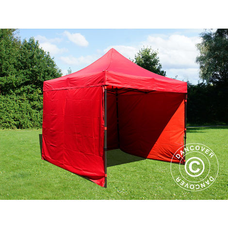 Pop up gazebo FleXtents Pop up canopy Folding tent Basic v.2, 3x3 m Red, incl. 4 sidewalls