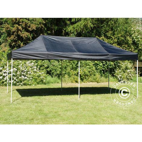 Pop up gazebo FleXtents Pop up canopy Folding tent Basic v.3, 3x6 m Black