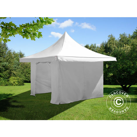 Pop up gazebo FleXtents Pop up canopy Folding tent Pagoda Xtreme 50 4x4 m / (5x5 m) White, incl. 4 sidewalls