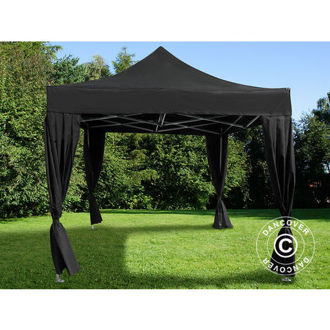 Pop up gazebo FleXtents Pop up canopy Folding tent PRO 3x3 m Black, incl. 4 decorative curtains