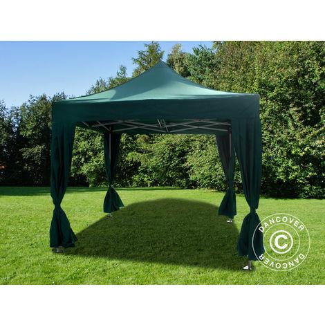 Pop up gazebo FleXtents Pop up canopy Folding tent PRO 3x3 m Green, incl. 4 decorative curtains