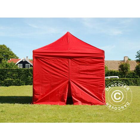 Pop up gazebo FleXtents Pop up canopy Folding tent PRO 3x3 m Red, incl. 4 sidewalls