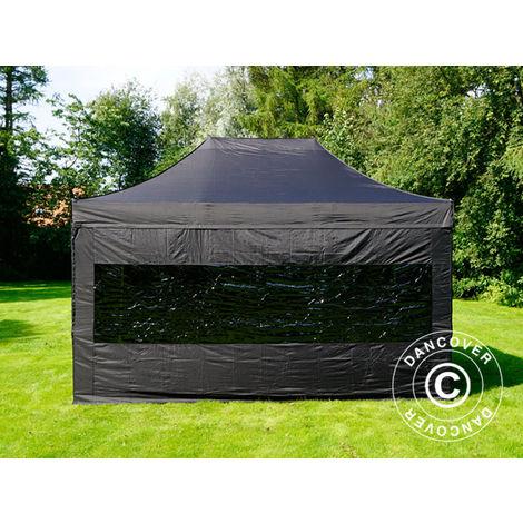 Pop up gazebo FleXtents Pop up canopy Folding tent PRO 3x4.5 m Black, incl. 4 sidewalls