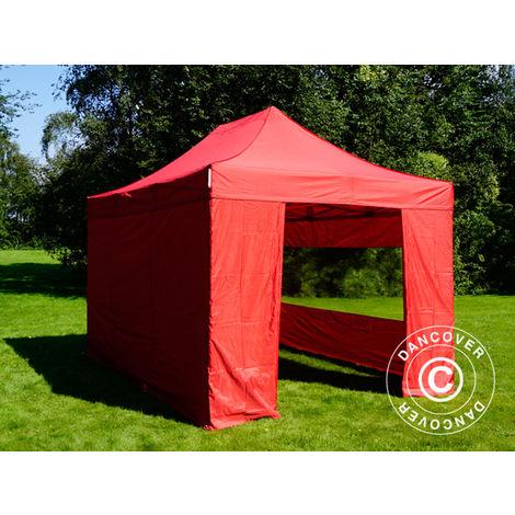 Pop up gazebo FleXtents Pop up canopy Folding tent PRO 3x4.5 m Red, incl. 4 sidewalls