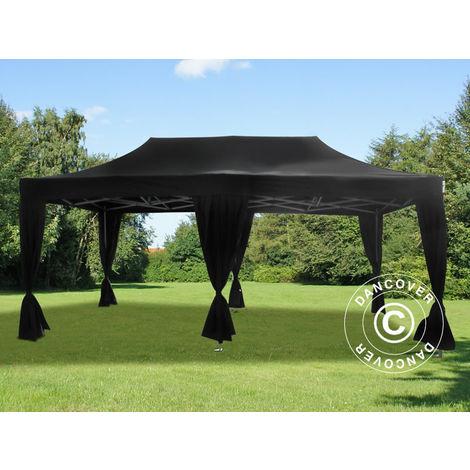 Pop up gazebo FleXtents Pop up canopy Folding tent PRO 3x6 m Black, incl. 6 decorative curtains