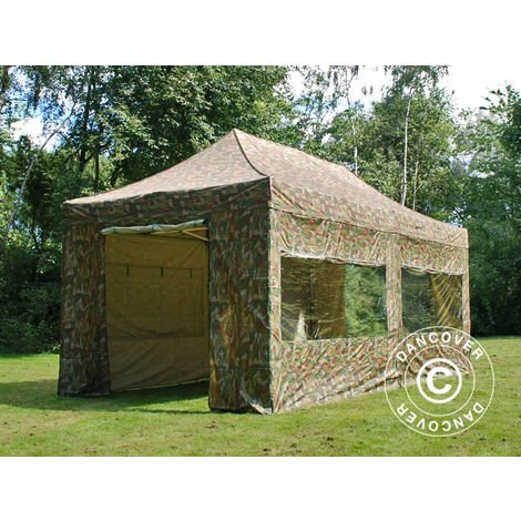 Pop up gazebo FleXtents Pop up canopy Folding tent PRO 3x6 m Camouflage/Military, incl. 6 sidewalls