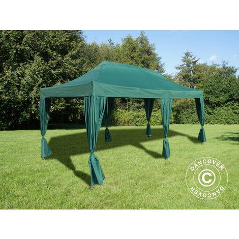 Pop up gazebo FleXtents Pop up canopy Folding tent PRO 3x6 m Green, incl. 6 decorative curtains