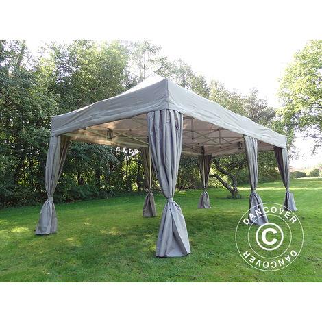 Pop up gazebo FleXtents Pop up canopy Folding tent PRO 3x6 m Latte, incl. 6 decorative curtains