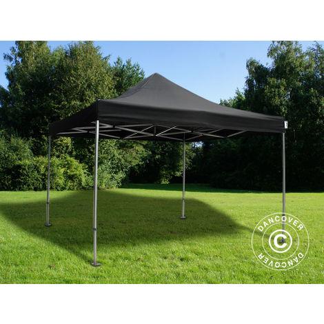 Pop up gazebo FleXtents Pop up canopy Folding tent PRO 4x4 m Black, Flame retardant