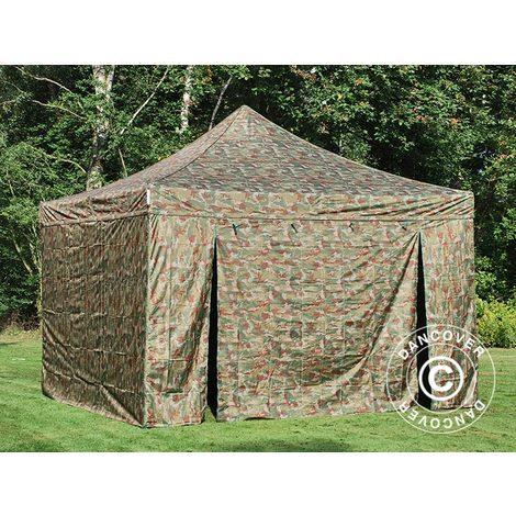 Pop up gazebo FleXtents Pop up canopy Folding tent PRO 4x4 m Camouflage/Military, incl. 4 sidewalls