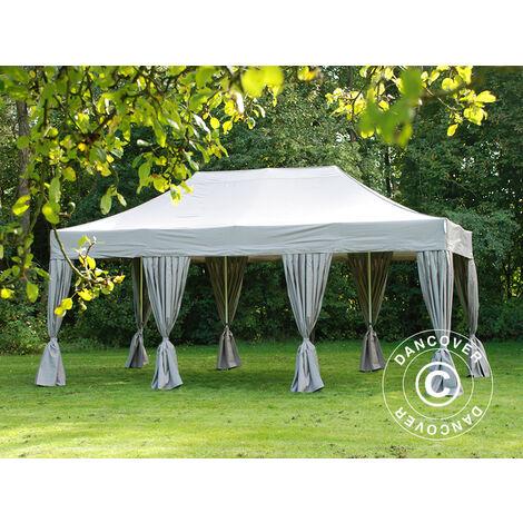 Pop up gazebo FleXtents Pop up canopy Folding tent PRO 4x6 m Latte, incl. 8 decorative curtains