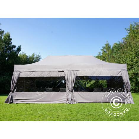 Pop up gazebo FleXtents Pop up canopy Folding tent PRO 4x8 m Latte, incl. 6 sidewalls & decorative curtains