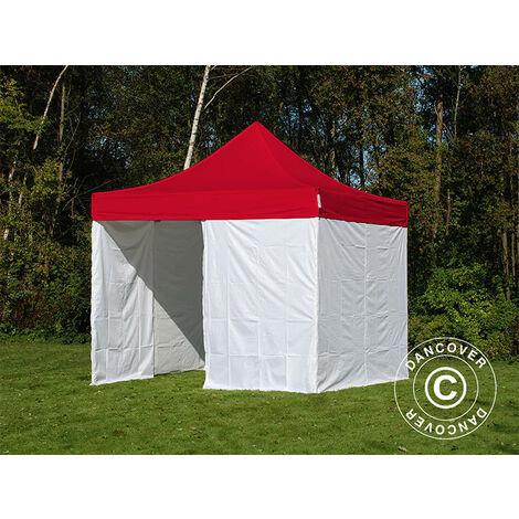Pop up gazebo FleXtents Pop up canopy Folding tent® PRO, Medical & Emergency tent, 3x3 m, Red/White, incl. 4 sidewalls