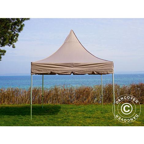 Pop up gazebo FleXtents Pop up canopy Folding tent PRO Peak Pagoda 3x3 m Latte