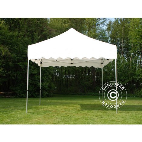 "Pop up gazebo FleXtents Pop up canopy Folding tent PRO ""Wave"" 3x3 m White, incl. 4 decorative curtains"