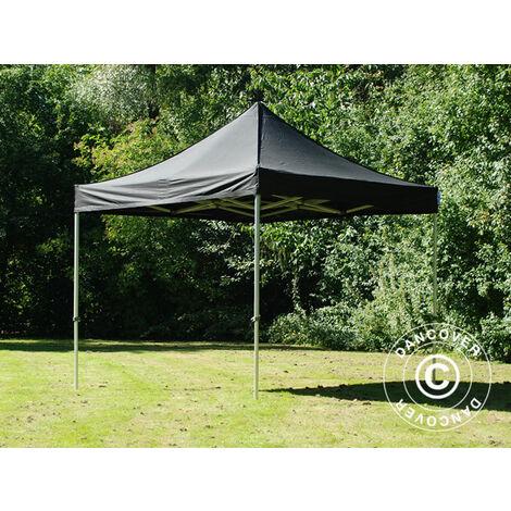 Pop up gazebo FleXtents Pop up canopy Folding tent Steel 3x3 m Black