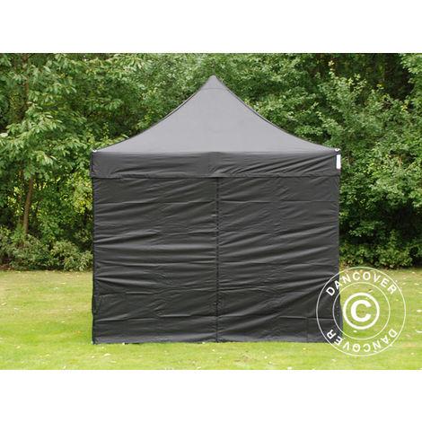Pop up gazebo FleXtents Pop up canopy Folding tent Steel 3x3 m Black, incl. 4 sidewalls