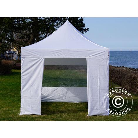 Pop up gazebo FleXtents Pop up canopy Folding tent Steel 3x3 m White, incl. 4 sidewalls